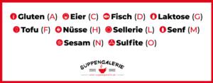 Gluten (A) Eier (C) Fisch (D) Tofu (F) Nüsse (H) Sellerie (L) Senf (M) Laktose (G) Sesam (N) Sulfite (O)